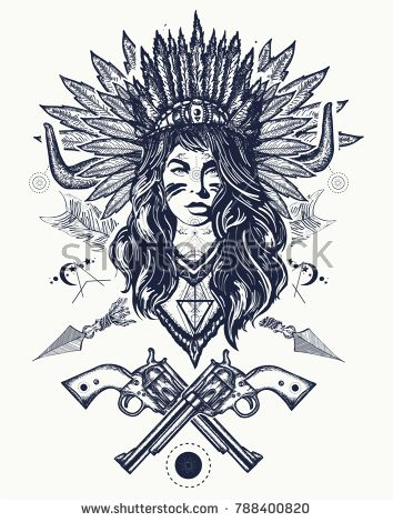 Tribal indian woman and guns tattoo and t-shirt design. Young woman in costume of american indian vector ethnic art. Native American woman tattoo art. Ethnic girl warrior