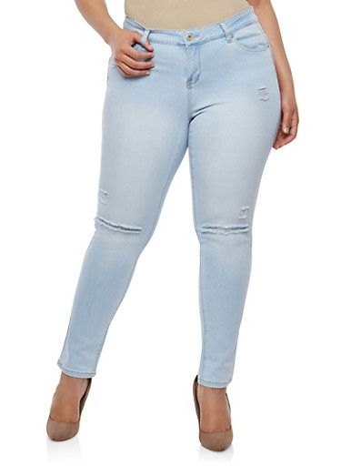 f84203515 Plus Size WAX Ripped Push Up Jeans,LIGHT WASH | My Style | Jeans ...