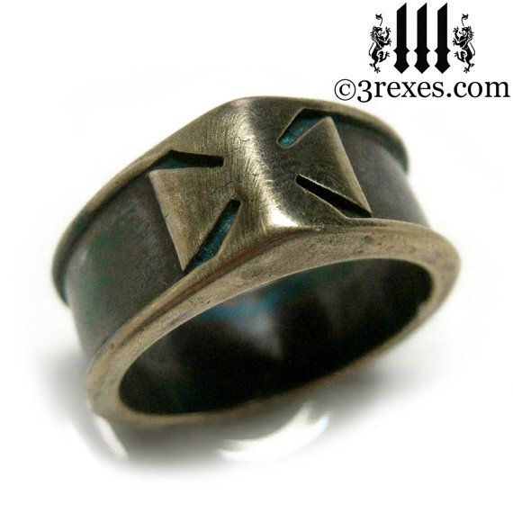 Mens Ring Iron Cross Dark Brass Band Knights by 3RexesJewelry, $65.00