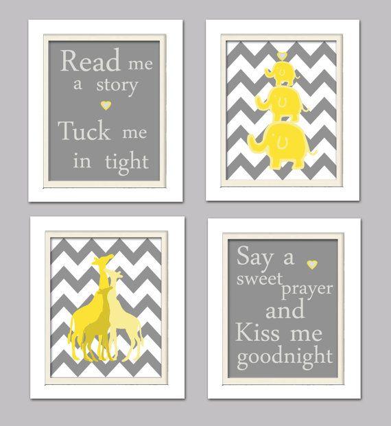 Yellow and Gray Nursery Sets   Nursery Art Quad  Yellow and Gray Nursery  Set of 4  8X10  Giraffes