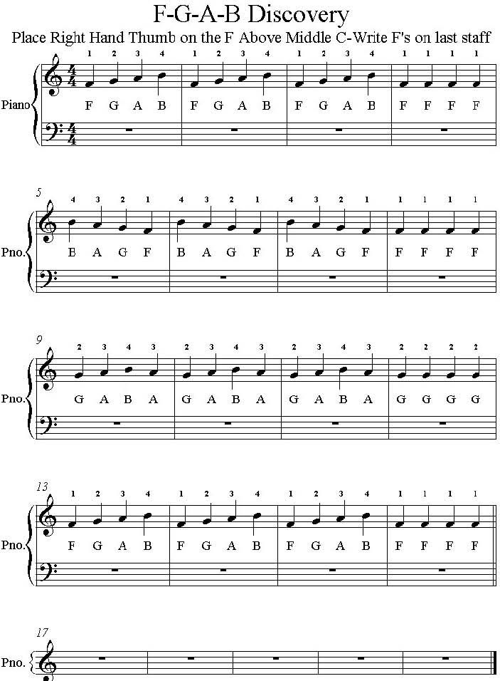 F G A B Discovery Piano Piece Piano Lessons Learn Piano Adult