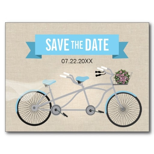 Tandem #Bicycle #Wedding Save the Date Postcards #savethedate