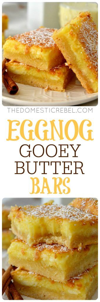 Eggnog Gooey Butter Bars are a fun twist on the classic butter cake recipe! Easy, impressive and packed with rum, nutmeg and eggnog flavors in a gooey, chewy bar! Perfect for Christmas!