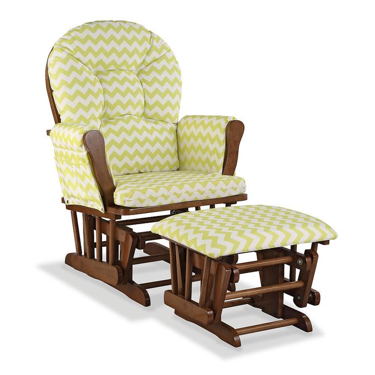 Stork Craft Hoop Custom Glider and Ottoman - Dove Brown/Citron Green Chevron #Storkcraft