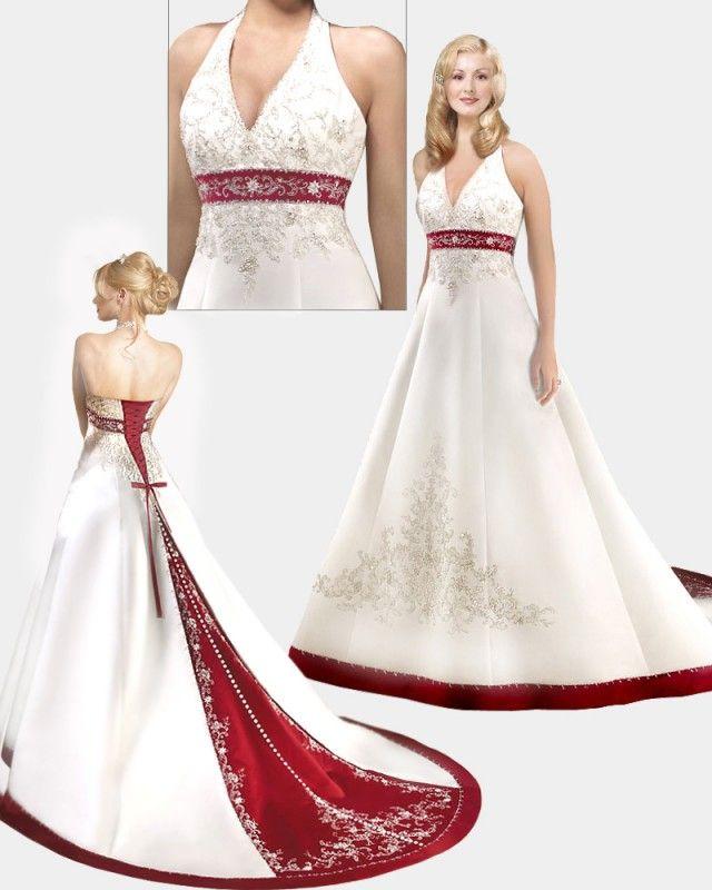 AF 2067 Wit met rode trouwjurk