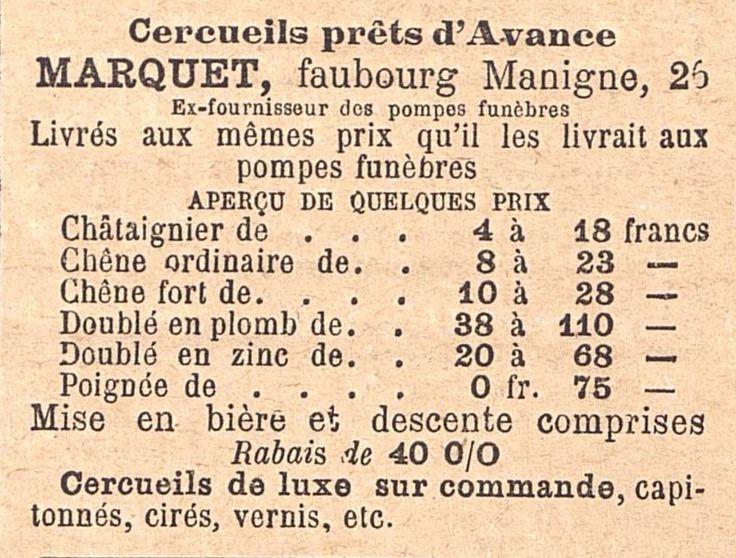 """""""Cercueils prêts d'avance"""", extrait de la Gazette du Centre, 1893"""