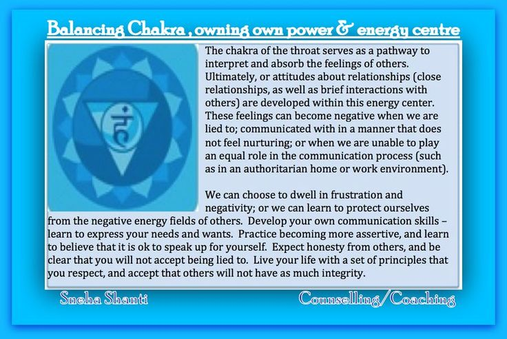 Balancing Throat Chakra , Owning own power & energy centre.