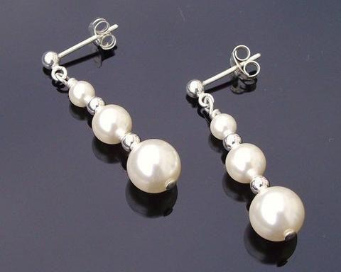 Wedding Earrings - Graduated Swarovski Pearl Drop Earrings, Classic