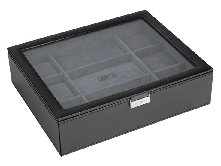 Select from an amazing collection of personalized Engraved Watch Box Stackers Large Black Executive at We Get Personal UK to match your needs with a desired touch. Grab this amazing watch box which is made of leather and fabric material. It costs for £135.00 only. #personalisedwatchbox #engravedwatchbox #watchboxes #StackersLargeBlackExecutiveWatchBox