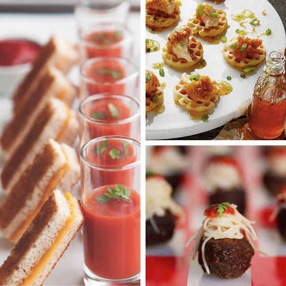 Bite-sized appetizers - grilled cheese with a shot of tomato soup, mini chicken-n-waffles, & spaghetti & meatballs.