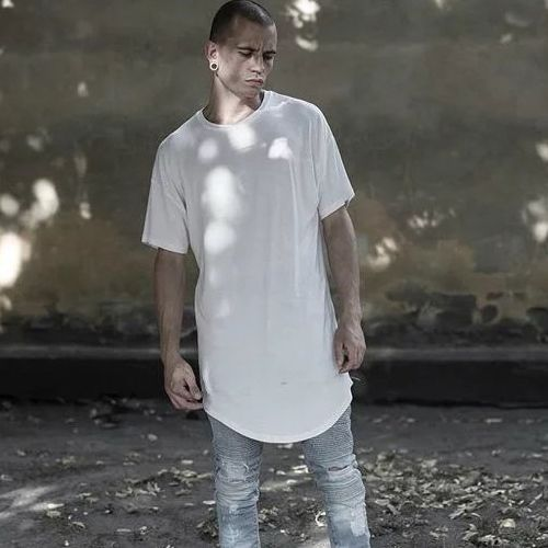Men Loose Crew neck Mid Long Style Hole Ripped Hip Pop Casual Tops T-Shirts Pure