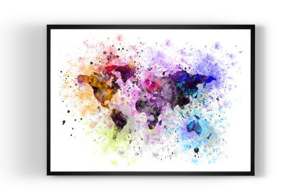 Map World map Print Art Print Art Print by MulticolourArt on Etsy