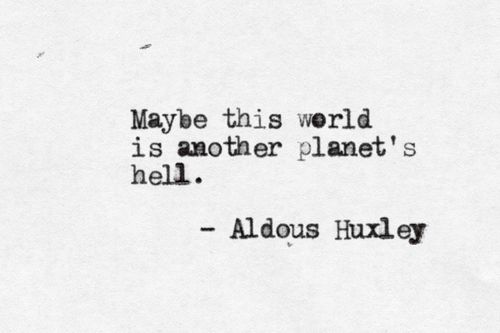 """Maybe this world is another planet's hell""   -Aldous Huxley                                                                                                                                                     More"