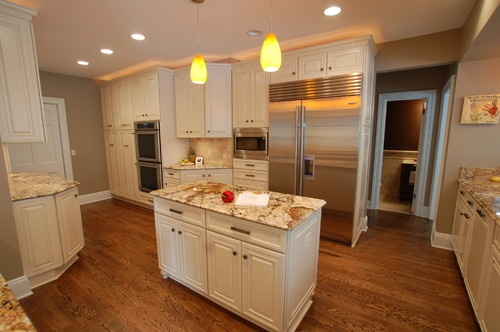 Cream cabinets greige walls white trim my dream stuff for Cream kitchen cabinets with white trim