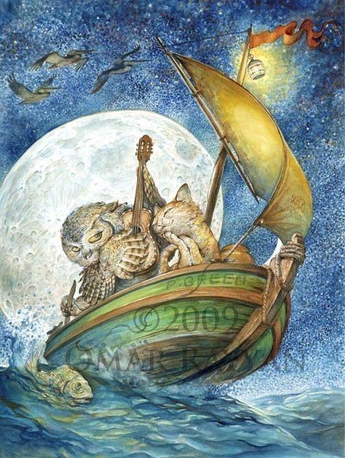 the Owl and the Pussycat print by studiorayyan [Omar Rayyan ☆ fairy tale & fantasy art] on Etsy