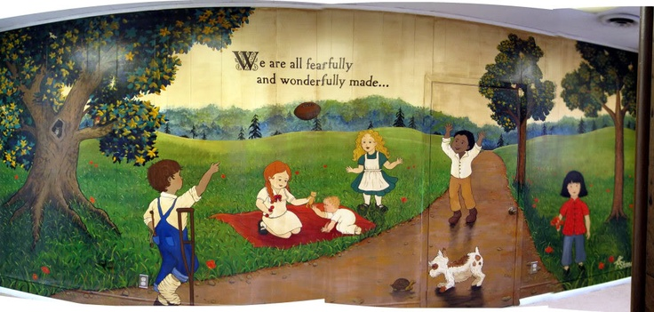 161 best church nursery fun images on pinterest church for Church nursery mural