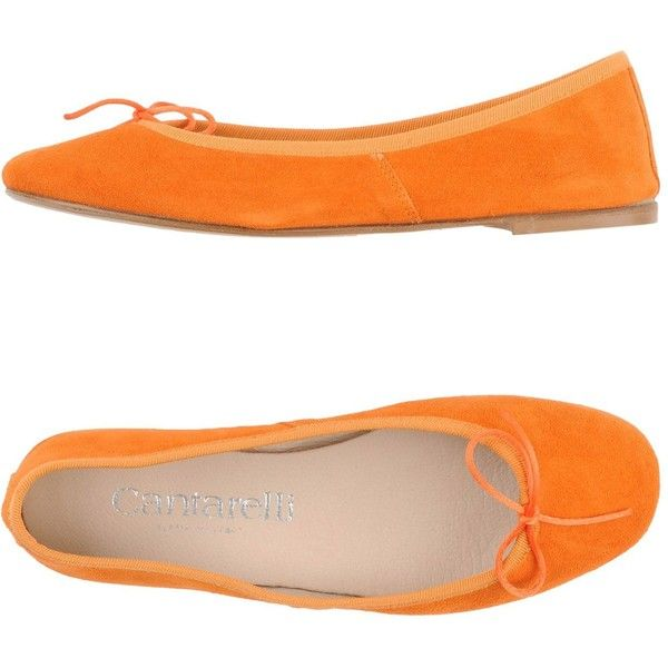 Cantarelli Ballet Flats (£79) ❤ liked on Polyvore featuring shoes, flats, orange, leather shoes, ballet flats, bow flats, orange ballet flats and ballerina flat shoes