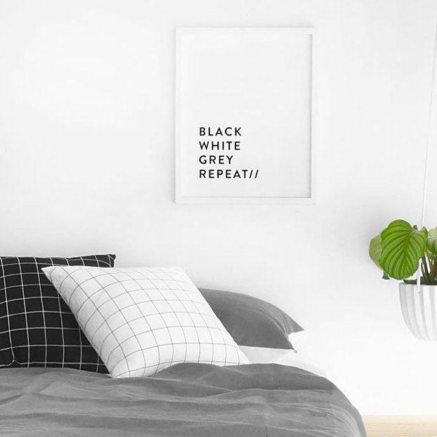 Via As Eliza Slept   Minimal   Black and White   Grid   Bedroom