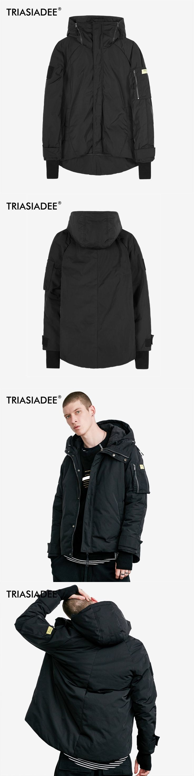 TRIASIADEE Warm Winter Hoodied Jacket Mens Down Jacket Cold Winter Cotton Clothes Casual Coat Male Parkas Hombre
