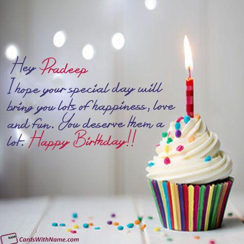 pradeep name card  birthday wishes with name happy