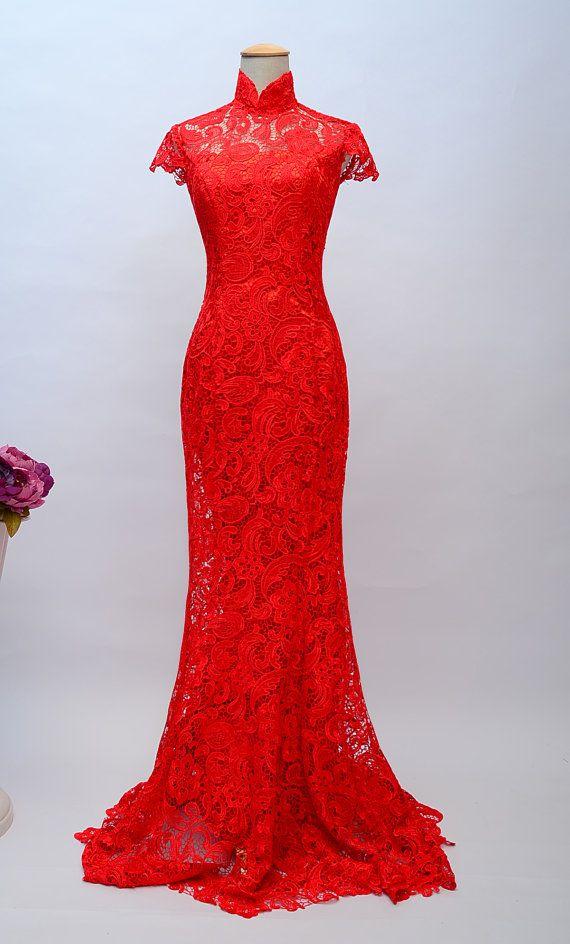 Red Lace Chinese Wedding Dress,Mandarin Collar long evening dress,brush Train Cheongsam ,Mermaid Chinese Qipao,Custom Traditional prom dress on Etsy, $179.00