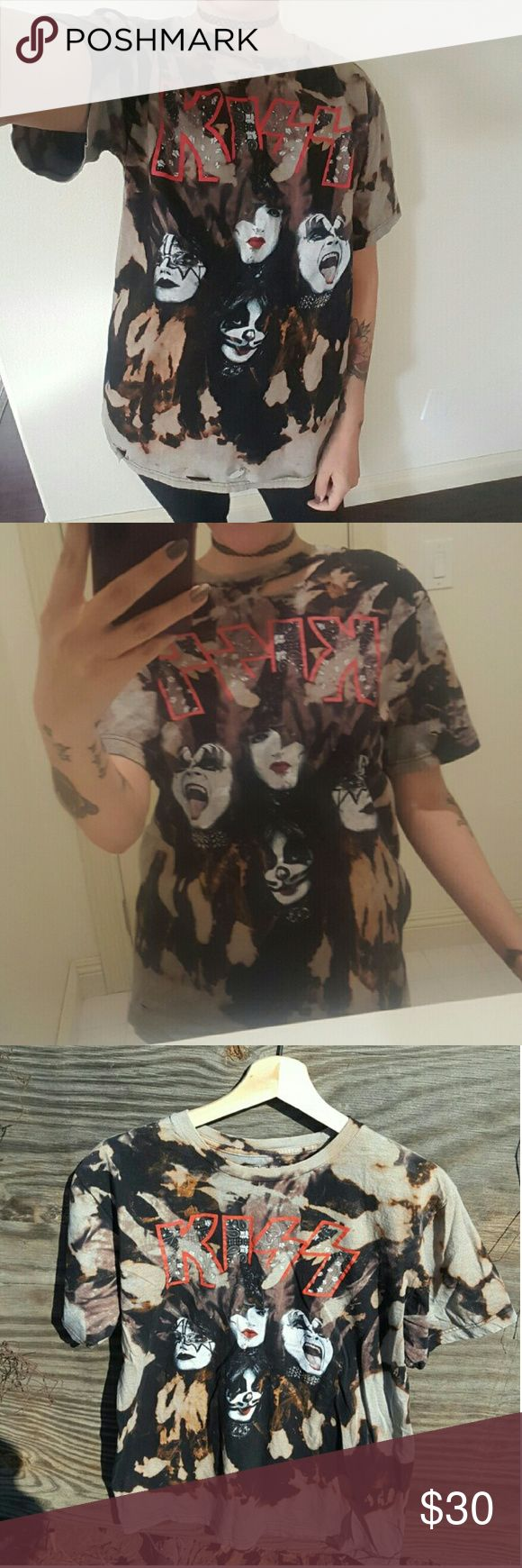 Distressed Kiss t shirt DIY Kiss tee. Bleach washed. Has small holes and tears for a distressed look! Very soft and cozy. Men's size XL, but can be worn as an oversized tee. Unisex. #kiss#rocknroll#diy#grunge#punk#cool Shirts Tees - Short Sleeve