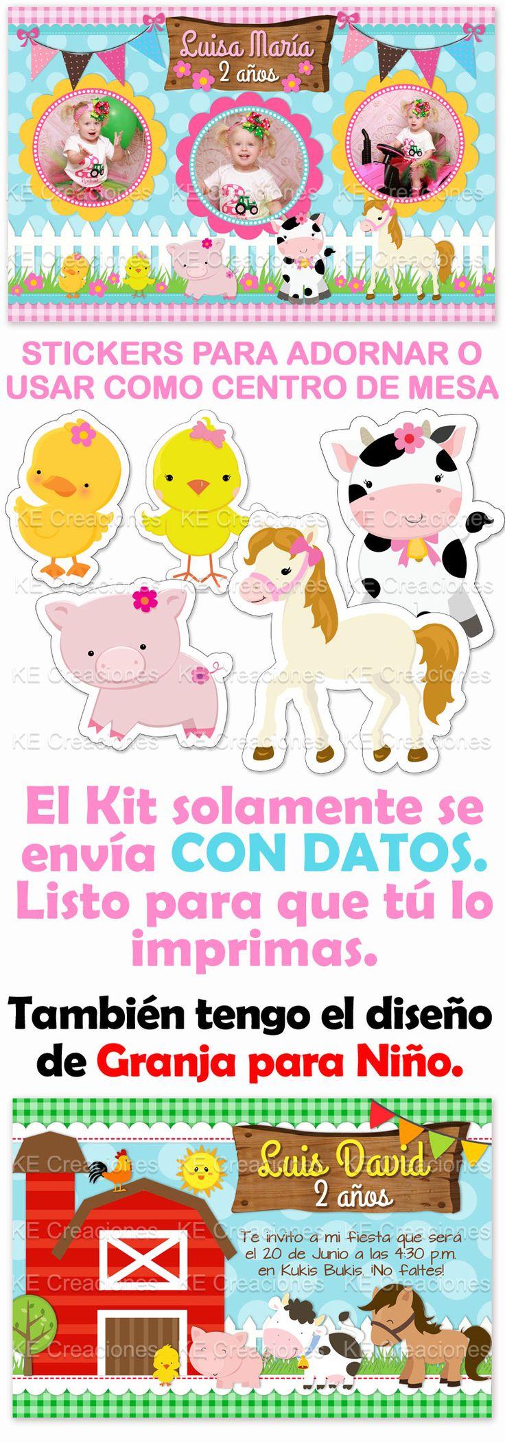 Kit Imprimible La Granja Cumpleaños Niña Niño Animales - $ 80.00