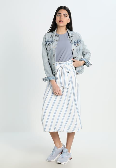 Lost Ink STRIPE DAY WRAP - Maxi skirt - off-white/light blue for £37.99 (19/08/17) with free delivery at Zalando