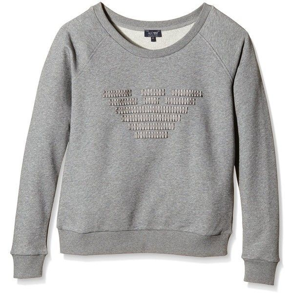 Armani Jeans Women's Giorgio Armani Grosgrain Eagle Sweatshirt (460 SAR) ❤ liked on Polyvore featuring tops, hoodies, sweatshirts, eagles sweatshirt, pleated top and armani jeans