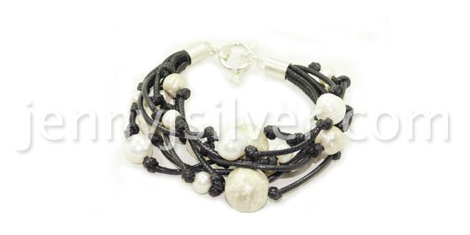 Order it here http://goo.gl/xMHM1l Hope Bracelet - Handmade Silver Bracelet Material: Sterling silver 925, Pearl stones, leather, beads Dimension:Length : 18.0 cm Weight:35 gram Price:$ 112.00 In Stock : 3 pcs