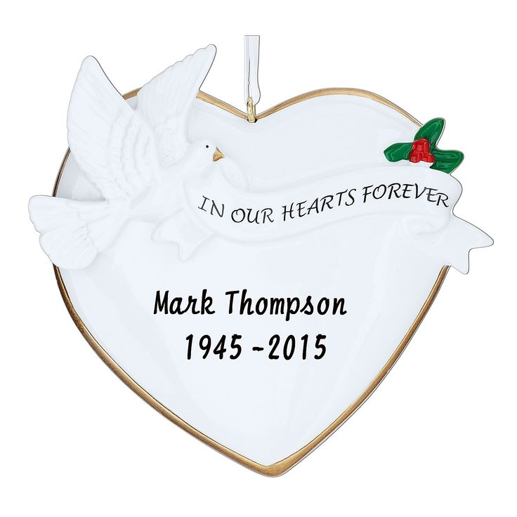 PERSONALISED IN OUR HEARTS FOREVER HEART WITH DOVE MEMORIAL REMBRANCE CHISTMAS ORNAMENT BAUBLE