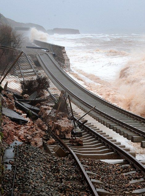 04/02/14 View of the railway line at Dawlish, Devon, which has been left hanging in mid-air after the sea wall was washed away