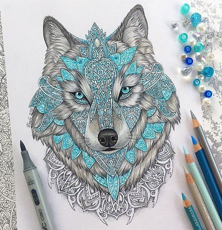 Mandala wolf by: @vvvenla_art! - Tag your work with #justartspiration for the chance to be featured!
