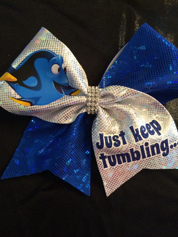 Dory Inspired Cheer Bow Just Keep Tumbling... by CheerBowsBowtique