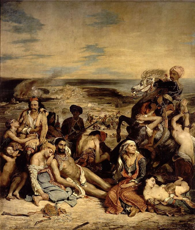 Massacres at Chios, Greek Families Awaiting Death or Slavery by Eugene Delacroix, 1824, currently at the Louvre.  The Massacres at Chios were the suppression of a war of independence fought by the Greeks against the Turks.  Greece had been under occupation for nearly four centuries before revolting against the Ottoman Empire in 1821.  The Sultan sent a fleet to destroy the island of Chios.  This included two weeks of murder, torture and rape. All the villages were burned.