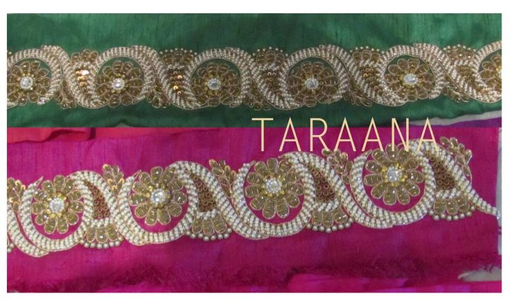 1.5 meters Borders For the first time, introducing exclusive designs of hand-embroidered borders in lengths fit to accentuate tunics, blouses, sarees, anarkalis and maxi dresses with just a touch of TARAANA. Give simple dresses an exotic semi-formal look with these special designs on popular demand by our very own special Taraana girls!  Available for SALE! HURRY!  Only till stock lasts! Colorrs as shown. to order mail at taraanacouture@gmail.com