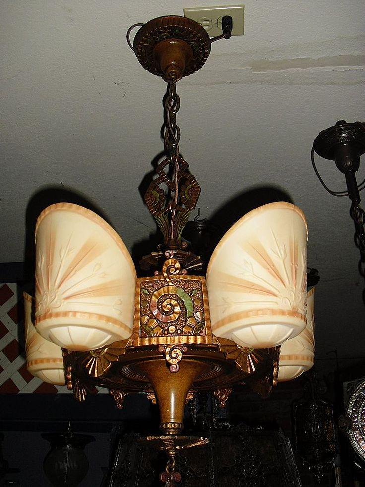 Antique art deco lighting beardslee art deco 5 light slip shade chandelier from
