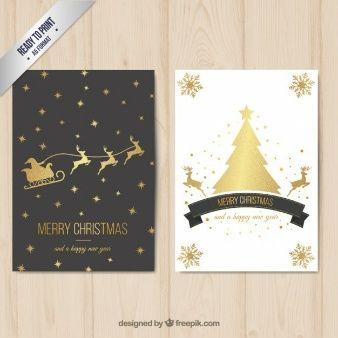 Веселая рождественская открытка с золотой отделкой