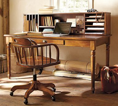 """Printer's Writing Desk #potterybarn  64"""" wide x 32"""" deep x 30"""" high  The writing desk has a single drawer with a drop-down front.  The Tuscan chestnut finish is hand applied in layers, with distressing and burnished edges that give the desk the look of a well-loved antique."""
