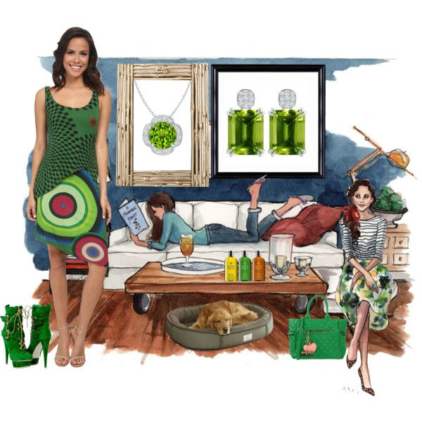 Go Green with Peridot by angarainc on Polyvore featuring Desigual, Essentiel, Molton Brown, OKA, Universal Lighting and Decor and Luigi Bormioli