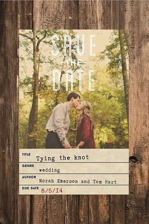 Save-the-dates that look like vintage library cards. | 19 Gorgeous Things Every Book Lover Needs For Their Wedding