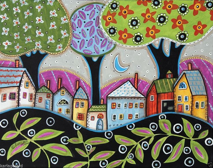Town 14x11 Trees Houses Flower ORIGINAL Canvas PAINTING Abstract FOLK ART Karla Gerard..new painting on stretched canvas, ready to hang..now for sale..fab...♥•♥•♥