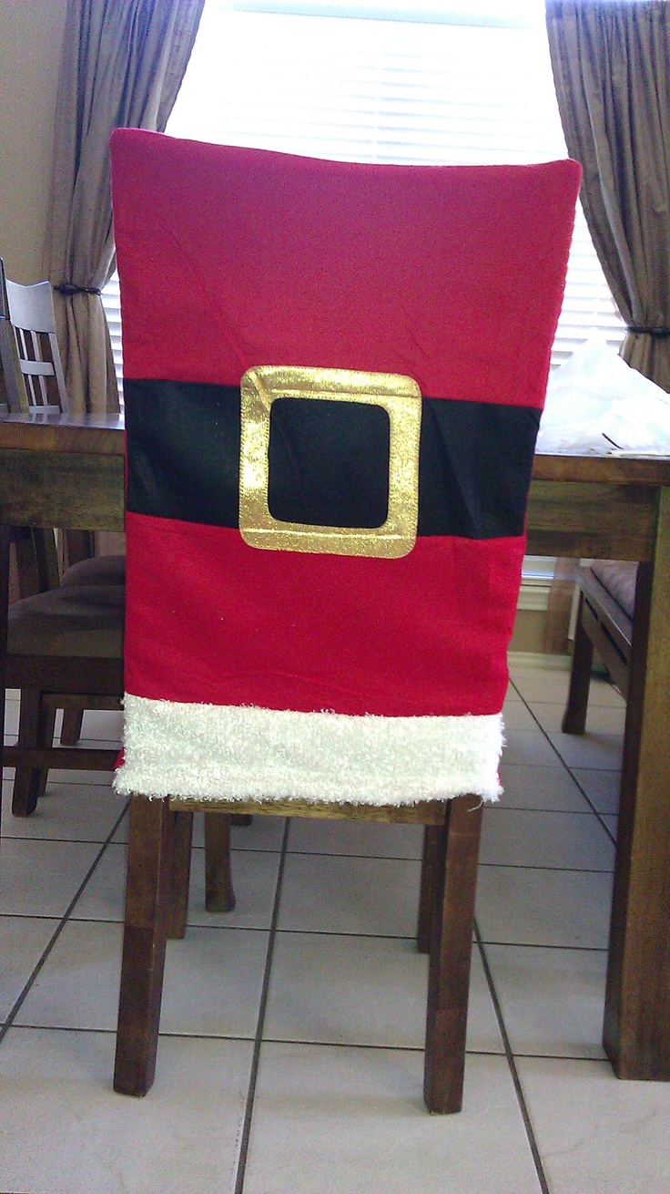 Santa felt gift bag from Michaels, turned upside down to make a chair back cover