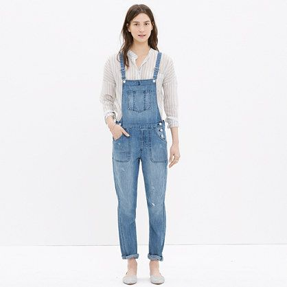 "Not too boxy, not too slim with ready-to-roll tapered legs, these perfectly broken-in overalls are a whole new excuse to wear denim. <ul><li>Slight drop crotch, slouchy fit through hip, with a relaxed, slim leg.</li><li>Front rise: 9"".</li><li>Inseam: 29"".</li><li>Leg opening for size 25: 12 1/4"".</li><li>100% cotton.</li><li>Machine wash.</li><li>Import.</li><li> </li></ul>"