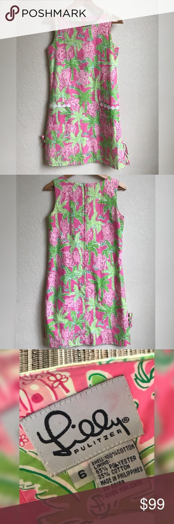 "Lilly Pulitzer Shift Dress Taboo Green Pink Print Lilly Pulitzer Shift Dress in the Taboo print, size 6.  Lace detail on pocket and under hem, fully lined. Zipper has been tested and is functioning without issue. Hook and eye closure at top of zip back. The tag has a trace of red ink, and the front of the dress has a few tiny holes (pictured). Underarm to underarm 16.5"" and total length 37"".  Please see photos for exact details and ask any questions prior to purchase.  Make an offer! Lilly…"