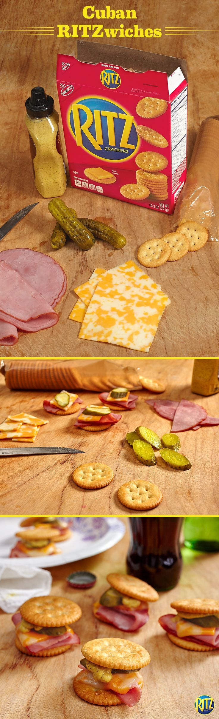 "RITZ ""Cuban"" Sandwich These RITZ cracker ""Cuban"" Sandwich Bites are our take on the authentic pressed sandwich. Top original RITZ crackers with brown sugar ham, Colby and Monterey Jack cheese, kosher dill pickles, and spicy brown mustard. Cover each with a second cracker and pop in the microwave for 10 seconds. Everyone's favorite sandwich, bite-sized! Life's Rich."