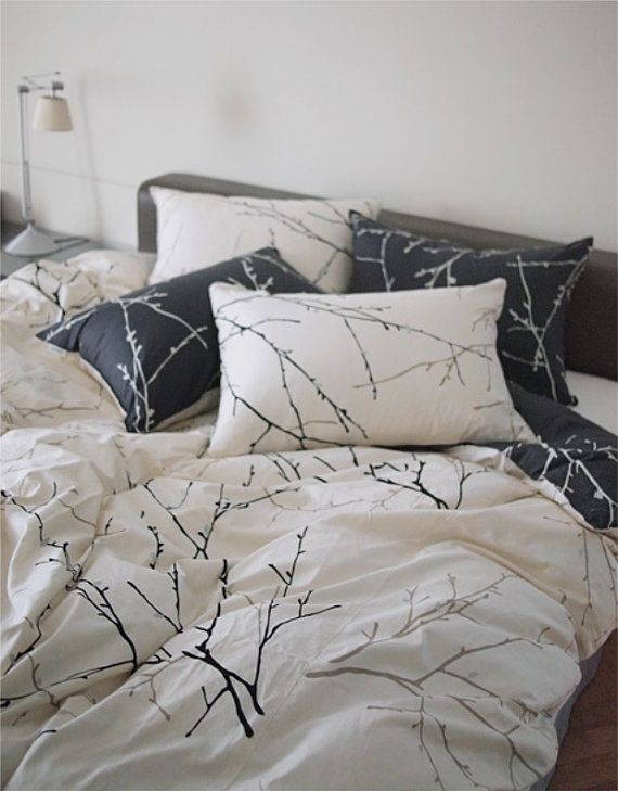 Ivory / Navy Tree Branch Printed Reversible Linen by MagnoliaAmor