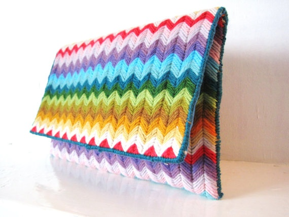 Happy Summer Rainbow Needlepoint Clutch Bag by ByAnnalea on Etsy, $30.00