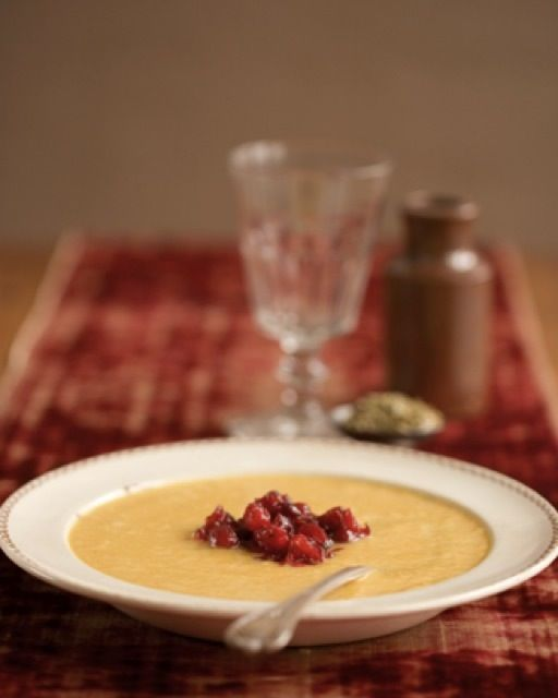 Pumpkin Soup With Cranberries: Great recipes and more at http://www.sweetpaulmag.com !!