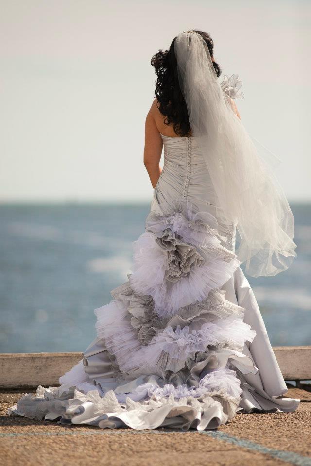 Silver bridal gown  www.touchedbyangels.com.au